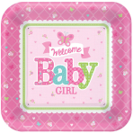 8 Plates Welcome Little One - Girl 26.6 cm
