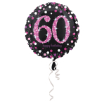 Standard Pink Celebration 60 Foil Balloon, round, S55, packed, 43 cm
