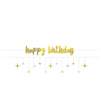 Banner Kit Birthday Accessories Silver & Gold Paper 365 cm 2 Parts