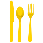 Cutlery Sunshine Yellow Plastic (8 Knives, 8 Spoons, 8 Forks) 17.1 cm / 14.7 cm / 15.7 cm