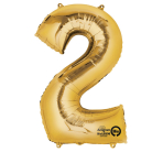 SuperShape Number 2 Gold Foil Balloon L34 Packaged 50cm x 88cm