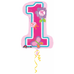 SuperShape Sweet Birthday Girl1st Birthday Foil Balloon P35 Packaged 48 x 71 cm