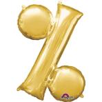 MiniShape Symbol % Gold Foil Balloon L16 Packaged 33cm x 38c