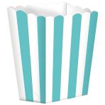5 Popcorn Boxes Stripes Robin's Egg Blue Paper 6.3 x 13.4 x 3.8 cm
