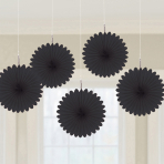 5 Fan Decorations Black Paper 15.2 cm