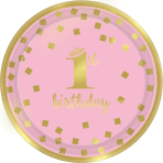 8 Plates 1st Birthday Pink & Gold 18cm