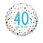 Standard EU Confetti Bday 40 Foil Balloon S40 packaged