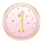 8 Plates 1st Birthday Pink Ombre Round Paper 22.8 cm