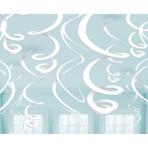 12 Swirl Decorations White 55.8 cm
