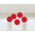 5 Fan Decorations Apple Red Paper 15.2 cm