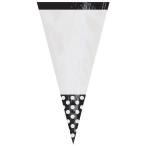 10 Party Bags Cone Shaped Polka Dot Black Plastic 27.2 x 8.8 cm