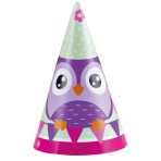 8 Party Cone Hats Happy Owl Paper Height 16 cm