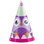 8 Party Cone Hats Happy Owl