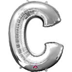 SuperShape Letter C Silver Foil Balloon L34 Packaged 63cm x 81cm