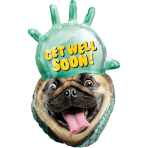 "SuperShape ""Avanti Get Well Pug"" Foil Balloon  , P38, packed, 50 x 81cm"
