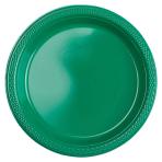 20 Plates Festive Green Plastic Round 17.7 cm