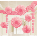 Decoration Kit Damask Pretty Pink Paper 9 Pieces 360 cm / 90 cm / 20.3 - 30.4 cm