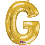 "Mini Shape Letter ""G"" Gold Foil Balloon A04 Packaged 22 x 33cm"