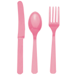Cutlery New Pink Plastic (8 Knives, 8 Spoons, 8 Forks) 17.1 cm / 14.7 cm / 15.7 cm