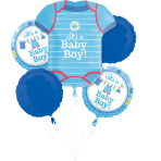 """Bouquet """"Shower With Love Boy"""" 5 Foil Balloons, P75, packed"""
