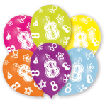 6 Latex Balloons All Round Printed Age 8 27.5 cm/11''