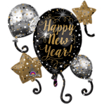 """SuperShape """"HNY Balloon Cluster"""" Foil Balloon, P40, packed, 73x76 cm"""