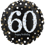 "Jumbo ""Sparkling Birthday 60"" Foil Balloon, P40, packed, 71 x 71cm"