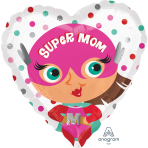 "Standard ""Super Mom"" Foil Balloon Round, S40, packed, 43cm"