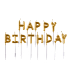 13 Letter Candles Happy Birthday Gold Height 7.3 cm