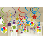 50 Swirl Decorations Balloon Bash Foil / Paper 61 cm