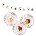 Decoration Kit (1 Banner and 3Fans/Fans) Beautiful Horses