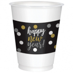 25 New Years Printed Plastic Cups 473 ml
