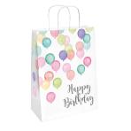 2 Paper Bags Happy Birthday Pastel 31.5 x 13.1 cm