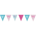 Pennant Banner Christening Day - Pink Foil 396 x 20 cm