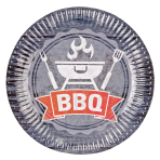 8 Plates BBQ Party Paper Round 22.8 cm