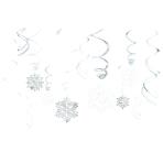 12 Swirl Decorations Snowflake Foil / Paper 61 cm