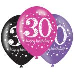 "6 Latex Balloons Age 30 Pink Celebration 27.5cm/11"""