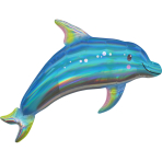 Holographic SuperShape Iridescent Blue Dolphin Foil Balloon P40 Packaged 73cm x 68cm