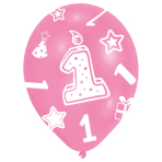 """6 Latex Balloons All Round Printed Age 1 Pink 27.5 cm / 11"""""""