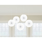 5 Fan Decorations Frosty White Paper 15.2 cm