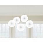 5 Paper Fan Decorations White 15.2 cm
