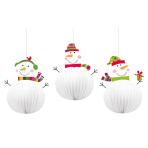 3 Hanging Decorations Joyful Snowman 20.3 cm