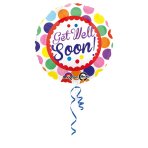 Standard Get well soon Dots Foil Balloon Round S40 Packaged 43 cm