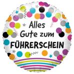 """Standard """"Alles Gute zum Führerschein"""" Foil Balloon Round, S40, packed, 43cm"""