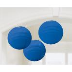 3 Lanterns Bright Royal Blue Paper 20.4 cm
