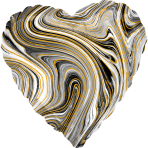 Standard Marblez Black Heart Foil Balloon S18 Packaged