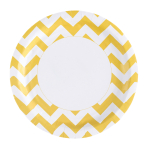 8 Plates Sunshine Yellow Chevron Paper Round 22.8 cm