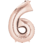 """SuperShape """"6 - Rose  Gold"""" Foil Balloon, P50, packed, 55 x 88cm"""