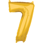 Mid Size Number 7 Gold Foil Balloon L26 Packaged 43cm x 66cm