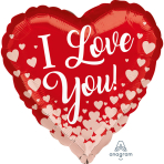 """Standard """"Rose Gold Hearts"""" Foil Balloon Heart, S40, packed, 43cm"""
